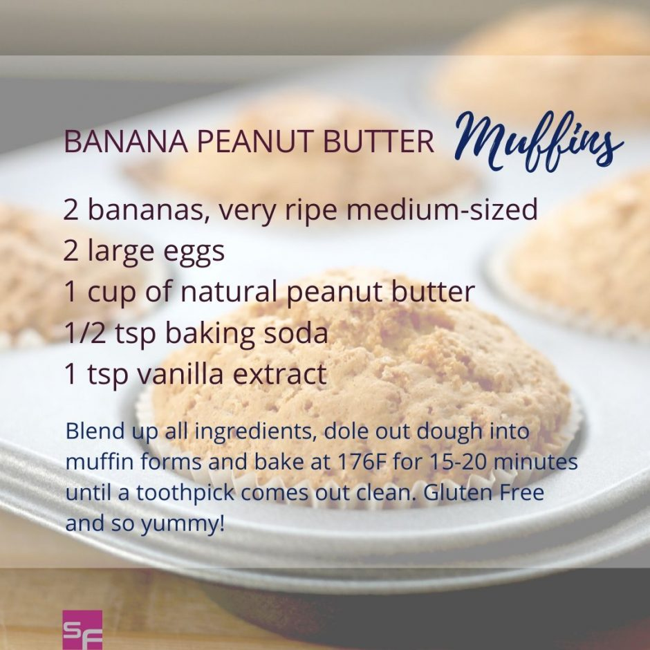 banana peanut butter muffins recipe card